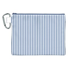 Mattress Ticking Narrow Striped Pattern in Dark Blue and White Canvas Cosmetic Bag (XXL)