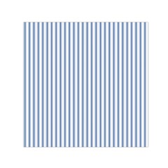 Mattress Ticking Narrow Striped Pattern in Dark Blue and White Small Satin Scarf (Square)
