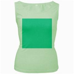 Tiffany Aqua Blue Solid Color Women s Green Tank Top