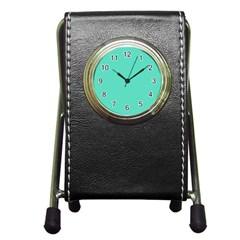 Tiffany Aqua Blue Solid Color Pen Holder Desk Clocks