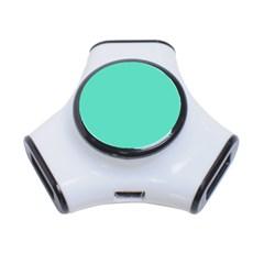 Tiffany Aqua Blue Solid Color 3-Port USB Hub