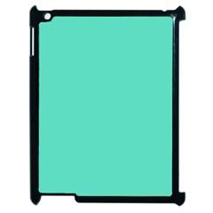 Tiffany Aqua Blue Solid Color Apple iPad 2 Case (Black)