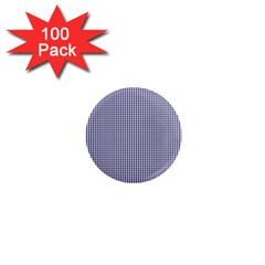 USA Flag Blue and White Gingham Checked 1  Mini Magnets (100 pack)