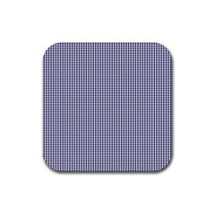 USA Flag Blue and White Gingham Checked Rubber Coaster (Square)