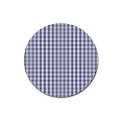 USA Flag Blue and White Gingham Checked Magnet 3  (Round)