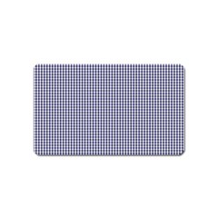 USA Flag Blue and White Gingham Checked Magnet (Name Card)