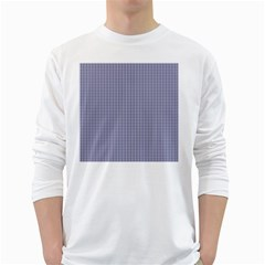 USA Flag Blue and White Gingham Checked White Long Sleeve T-Shirts