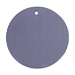 USA Flag Blue and White Gingham Checked Round Ornament (Two Sides)