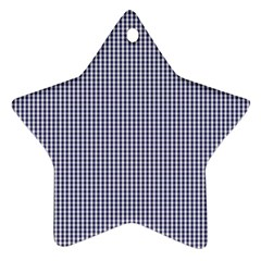 USA Flag Blue and White Gingham Checked Star Ornament (Two Sides)