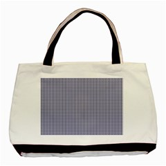 USA Flag Blue and White Gingham Checked Basic Tote Bag (Two Sides)