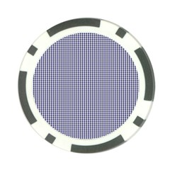 USA Flag Blue and White Gingham Checked Poker Chip Card Guard