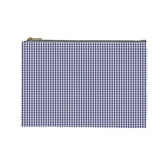 USA Flag Blue and White Gingham Checked Cosmetic Bag (Large)