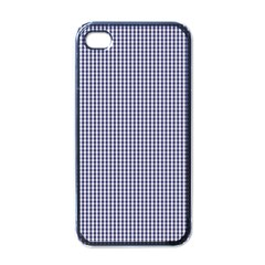 USA Flag Blue and White Gingham Checked Apple iPhone 4 Case (Black)