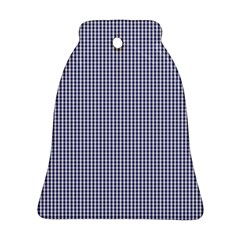 USA Flag Blue and White Gingham Checked Bell Ornament (Two Sides)