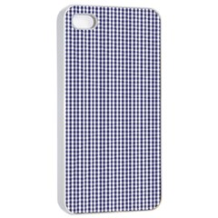 USA Flag Blue and White Gingham Checked Apple iPhone 4/4s Seamless Case (White)