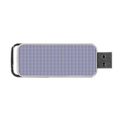 USA Flag Blue and White Gingham Checked Portable USB Flash (Two Sides)