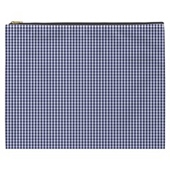 USA Flag Blue and White Gingham Checked Cosmetic Bag (XXXL)
