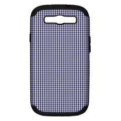 USA Flag Blue and White Gingham Checked Samsung Galaxy S III Hardshell Case (PC+Silicone)