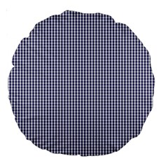 USA Flag Blue and White Gingham Checked Large 18  Premium Round Cushions