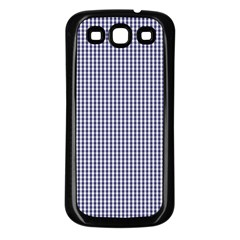 USA Flag Blue and White Gingham Checked Samsung Galaxy S3 Back Case (Black)