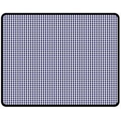 USA Flag Blue and White Gingham Checked Double Sided Fleece Blanket (Medium)