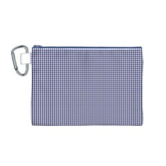USA Flag Blue and White Gingham Checked Canvas Cosmetic Bag (M)