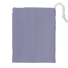 USA Flag Blue and White Gingham Checked Drawstring Pouches (XXL)