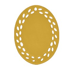 Designer Fall 2016 Color Trends-Spicy Mustard Yellow Oval Filigree Ornament (Two Sides)