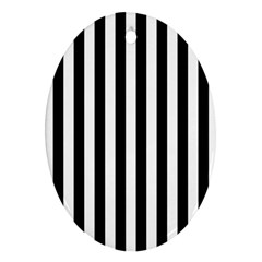 Large Black and White Cabana Stripe Oval Ornament (Two Sides)
