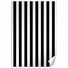 Large Black and White Cabana Stripe Canvas 12  x 18