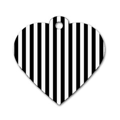 Large Black and White Cabana Stripe Dog Tag Heart (Two Sides)