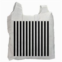 Large Black and White Cabana Stripe Recycle Bag (Two Side)