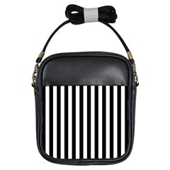 Large Black and White Cabana Stripe Girls Sling Bags