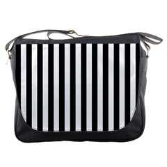 Large Black and White Cabana Stripe Messenger Bags