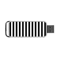 Large Black and White Cabana Stripe Portable USB Flash (Two Sides)