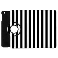 Large Black and White Cabana Stripe Apple iPad Mini Flip 360 Case