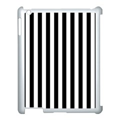 Large Black and White Cabana Stripe Apple iPad 3/4 Case (White)