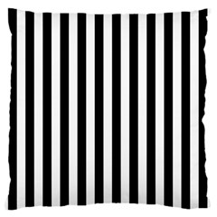 Large Black and White Cabana Stripe Large Flano Cushion Case (One Side)