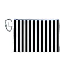 Large Black and White Cabana Stripe Canvas Cosmetic Bag (M)