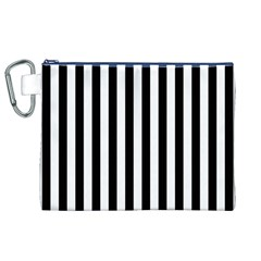 Large Black and White Cabana Stripe Canvas Cosmetic Bag (XL)