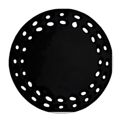 Black and Grey Perforated PInhole Carbon Fiber Round Filigree Ornament (Two Sides)