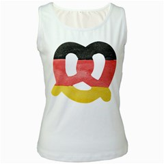 Pretzel in Hand-Painted Water Colors of German Flag Women s White Tank Top