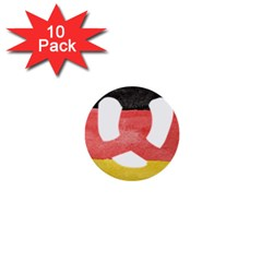 Pretzel in Hand-Painted Water Colors of German Flag 1  Mini Buttons (10 pack)