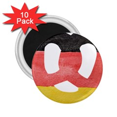 Pretzel in Hand-Painted Water Colors of German Flag 2.25  Magnets (10 pack)