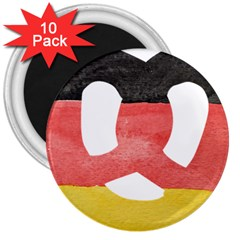 Pretzel in Hand-Painted Water Colors of German Flag 3  Magnets (10 pack)