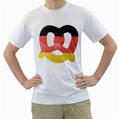 Pretzel in Hand-Painted Water Colors of German Flag Men s T-Shirt (White) (Two Sided)