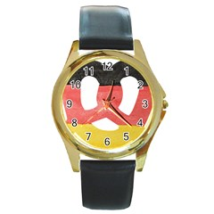 Pretzel in Hand-Painted Water Colors of German Flag Round Gold Metal Watch