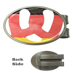Pretzel in Hand-Painted Water Colors of German Flag Money Clips (Oval)