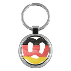 Pretzel in Hand-Painted Water Colors of German Flag Key Chains (Round)