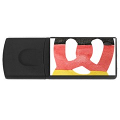 Pretzel in Hand-Painted Water Colors of German Flag USB Flash Drive Rectangular (2 GB)